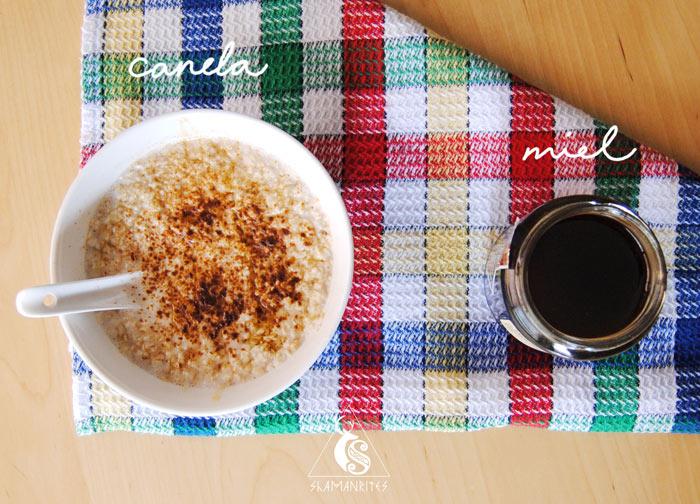 porridge con miel y canela